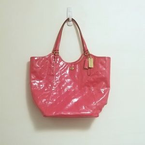 Hot Pink Coach Peyton Embossed Leather Tote Bag